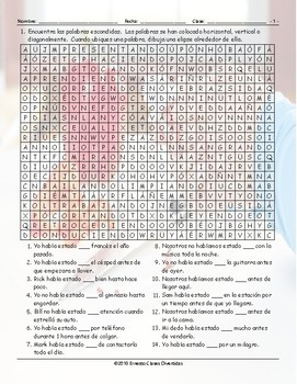 Past Perfect Continuous Tense Spanish Word Search Worksheet
