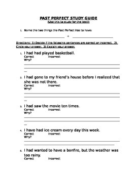 Past Perfect Study Guide