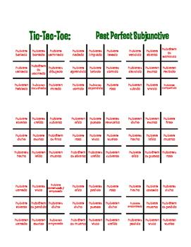 Spanish Past Perfect Subjunctive Tic Tac Toe Partner Game