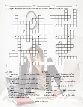 Past Perfect Tense Crossword Puzzle