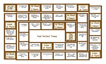 Past Perfect Tense Legal Size Text Board Game