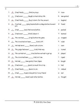 Past Perfect Tense Matching Exam