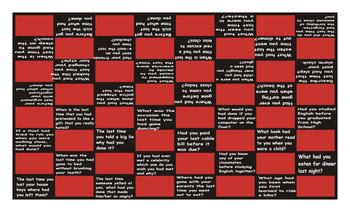 Past Perfect Tense Questions Checker Board Game