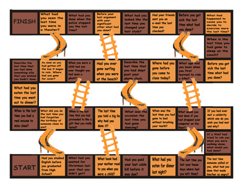 Past Perfect Tense Questions Chutes and Ladders Board Game