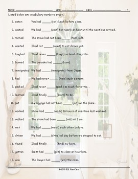 Past Perfect Tense Study Worksheet