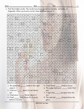 Past Perfect Tense Word Search Worksheet