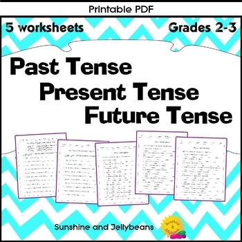 Past, Present & Future Tenses - 4 worksheets - Grade 2 - great practice!