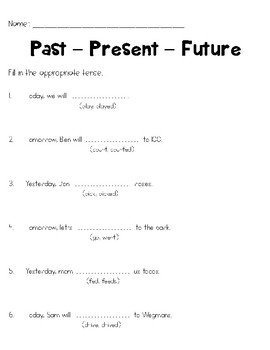Past Present Future Worksheets