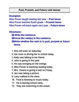 Past, Present, Future verb tense activities