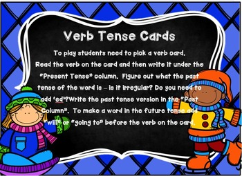 Past, Present, and Future Tense Verb Center Cards