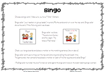 Past, Present and Future Tense Verbs (Regular Irregular) Bingo