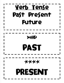 Past, Present, and Future Tense Verbs- Sentence Sort- Black and White