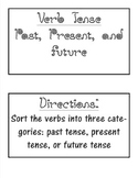 Past, Present, and Future Tense Verbs Word Sort black and white