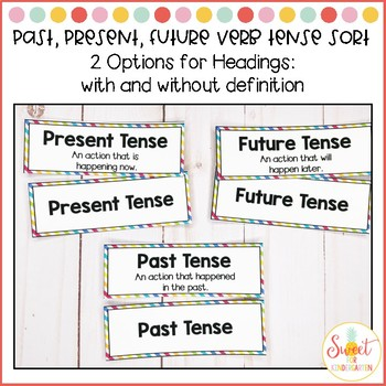 Past, Present, or Future Verb Tense Sort