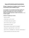 Past Preterite Partner Communicative Speaking Activity wit