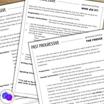 Past Progressive:  Grammar Activities