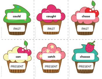 Past Simple Irregular Verb Game - SLAP IT ! (Cupcake Theme)