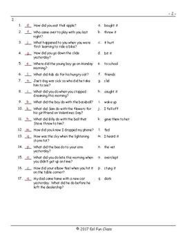 Past Simple Irregular Verbs Matching Exam