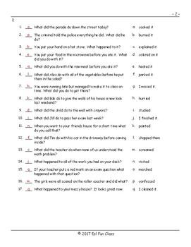 Past Simple Regular Verbs Matching Exam