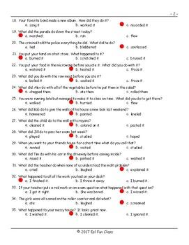 Past Simple Regular Verbs Multiple Choice Exam