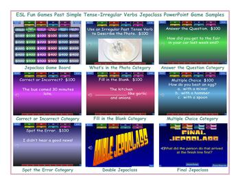 Past Simple Tense-Irregular Verbs Jeopardy PowerPoint Game Slideshow