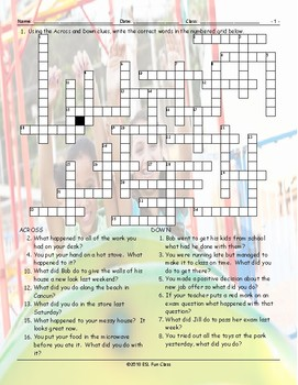 Past Simple Tense-Regular Verbs Crossword Puzzle