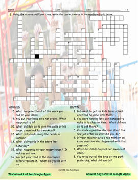 Past Simple Tense-Regular Verbs Interactive Crossword Puzzle for Google Apps
