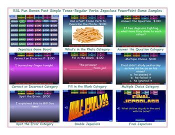 Past Simple Tense-Regular Verbs Jeopardy PowerPoint Game Slideshow