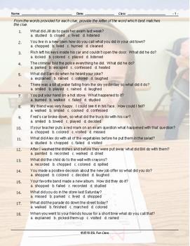 Past Simple Tense-Regular Verbs Multiple Choice Worksheet