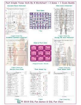 Past Simple Tense Verb Be 4 Worksheet-2 Game-1 Exam Bundle
