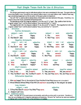 Past Simple Tense-Verb Be Use & Structure