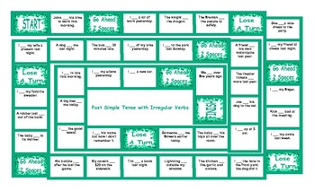 Past Simple Tense With Irregular Verbs Board Game