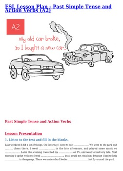 Past Simple Tense and Action Verbs - Free ESL Lesson Plan A2
