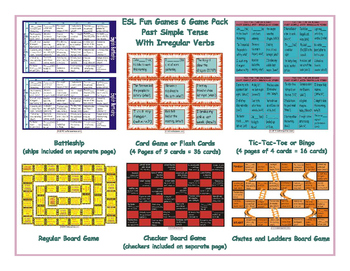 Past Simple Tense with Irregular Verbs 6 Board Game Bundle