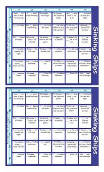 Past Simple Tense with Irregular Verbs Battleship Board Game