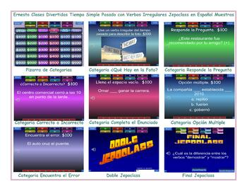 Past Simple Tense with Irregular Verbs Spanish Jeopardy Game