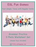 Past Simple Tense with Regular Verbs 3 Photo Worksheet Set