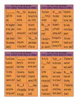 Past Simple Tense with Regular Verbs Tic-Tac-Toe or Bingo