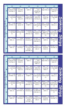 Past Simple Tense with Verb Be Battleship Board Game