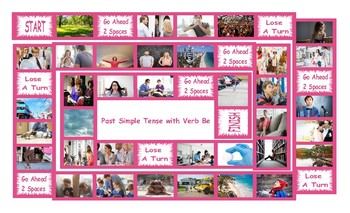 Past Simple Tense with Verb Be Legal Size Photo Board Game