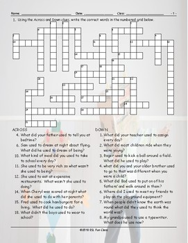 Past Simple-Used To Crossword Puzzle