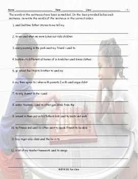 Past Simple-Used To Scrambled Sentences Worksheet