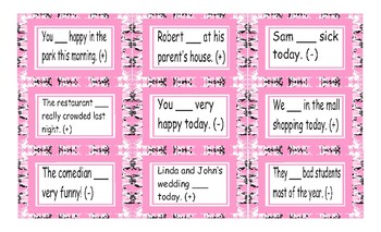 Past Simple Verb Be Cards