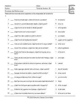 Past Simple with Regular Verbs  Spanish Matching Exam