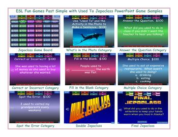 Past Simple with Used To Jeopardy PowerPoint Game Slideshow