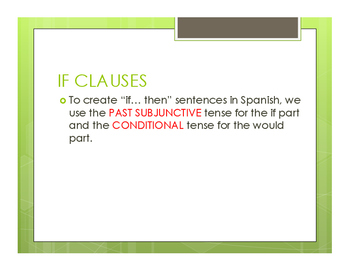 Spanish Past Subjunctive If Clause Notes