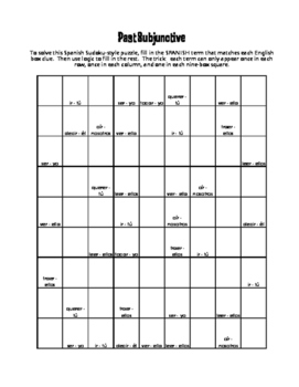 Spanish Past Subjunctive Puzzle Pack