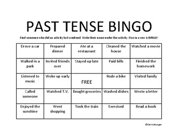 Past Tense Bingo