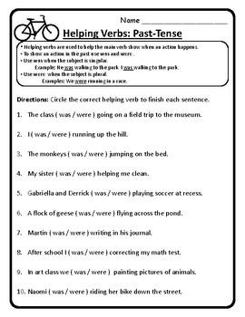 Past-Tense Helping Verbs Was and Were Helping Verbs Worksheet Practice ELA