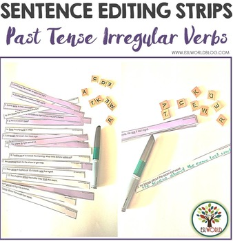 Past Tense Irregular Verbs Sentence Editing Strips
